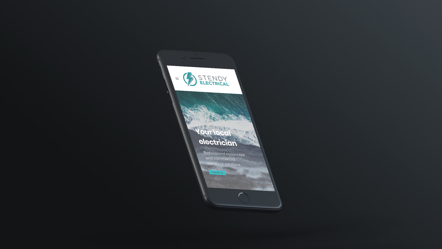 Stendy Electrical website mockup on mobile phone black background