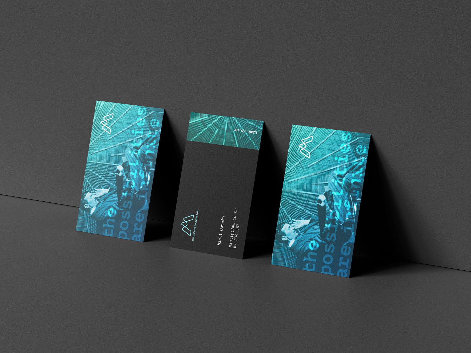 business cards showing The Infinite Monkey Lab brand identity applied to their touch points